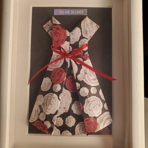 Other - Framed paper origami dress roses